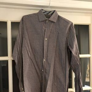 Men's burgundy and blue checked shirt